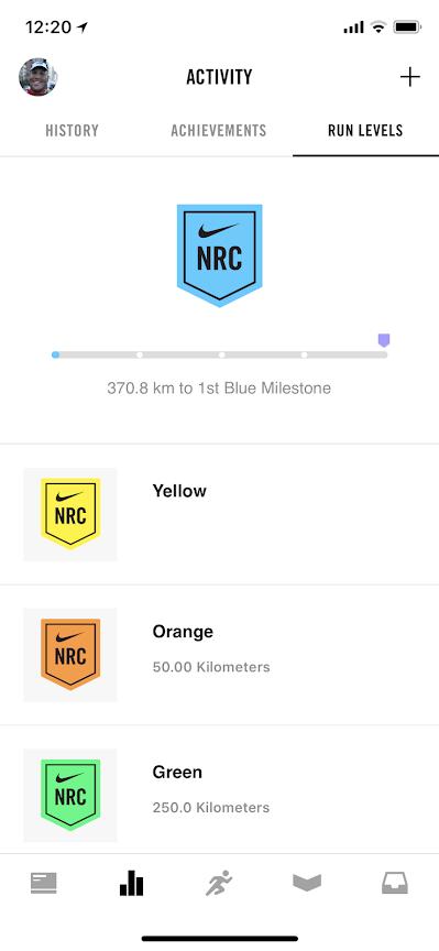 Screenshot from Nike Run Club App